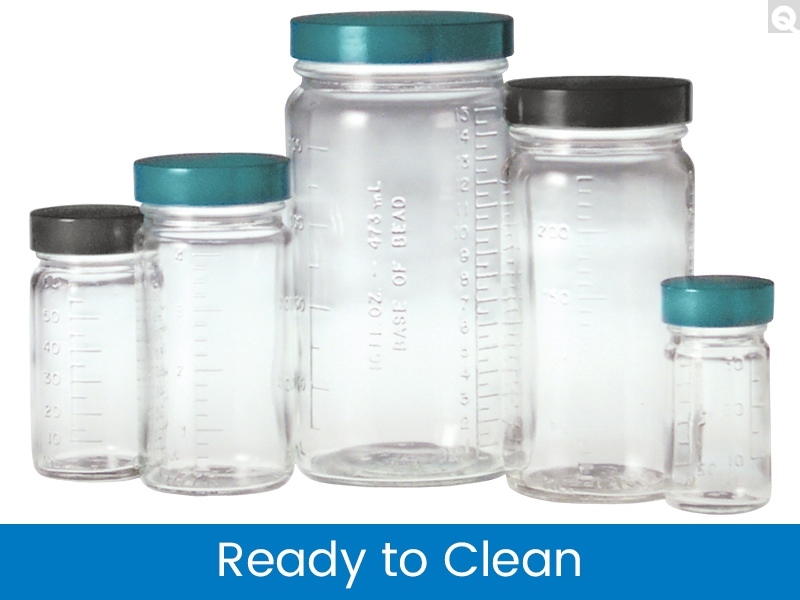 Graduated Medium Round Bottles, Ready to Clean