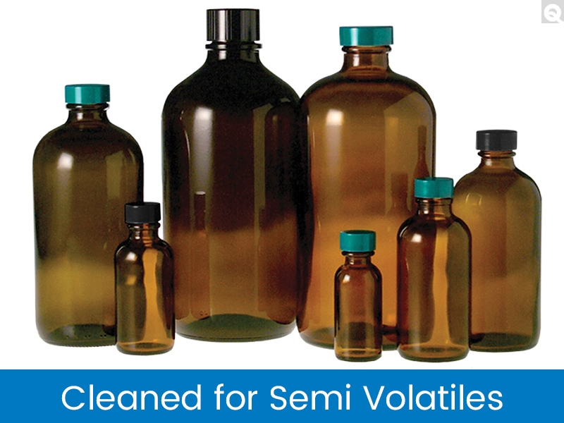Boston Round Bottles - Amber, Cleaned for Semi-Volatiles