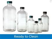 Boston Round Bottles - Clear, Ready to Clean