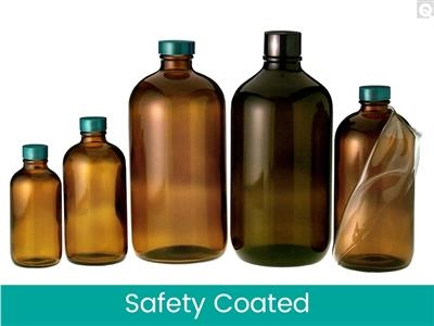 Safety Coated Boston Round Bottles - Amber