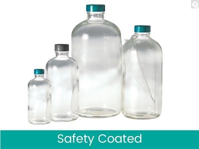 Safety Coated Boston Round Bottles - Clear