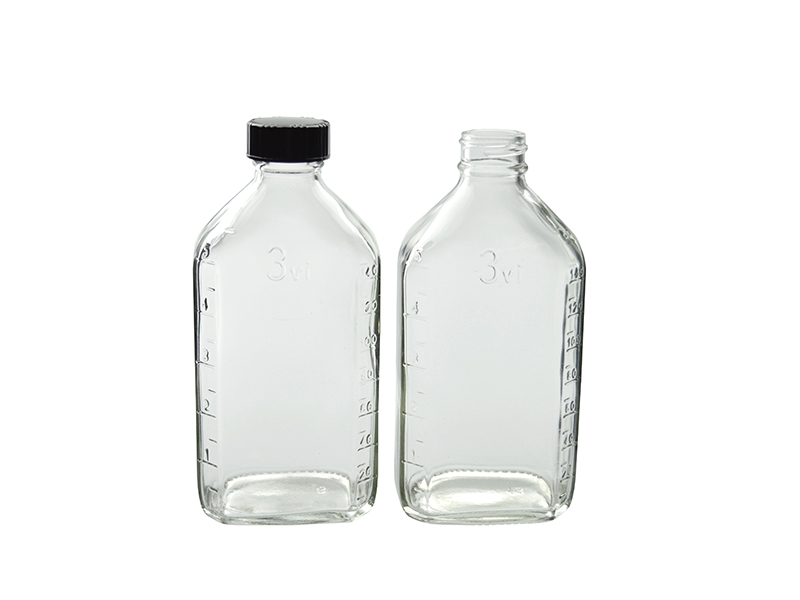 Qorpak GLC-01326 Clear Glass French Square Bottle with 33-400 Black Phenolic Pulp//Vinyl Lined Cap 45mm OD x 112mm Height 4oz Capacity Case of 24